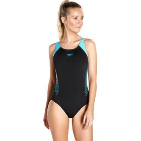 speedo Boom Splice Muscleback Swimsuit Women Black/Turquoise